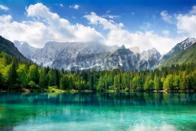 Plakat Piękny krajobraz z turkusowym jezioro, las i góry