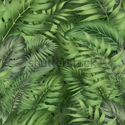 Plakat Piękny kwiatowy tło z tropikalnej dżungli pozostawia na ciemnym tle. Tropikalny wzór. Fototapety do zadruku wnętrz.