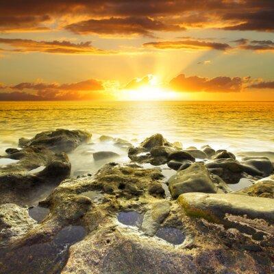 Plakat Piękny pomarańczowy zachód słońca