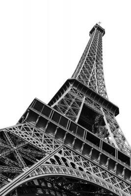Plakat Piękny widok na wieżę Eiffla widziana z dołu w Paryżu, odizolowane w czerni i bieli