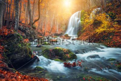 Plakat Piękny wodospad na górskiej rzece w kolorowy jesień las z czerwonymi i pomarańczowymi liśćmi o zachodzie słońca. Krajobraz przyrody