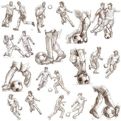 Plakat Piłka nożna - Piłka nożna. Zbiór ilustracji rysowane ręką