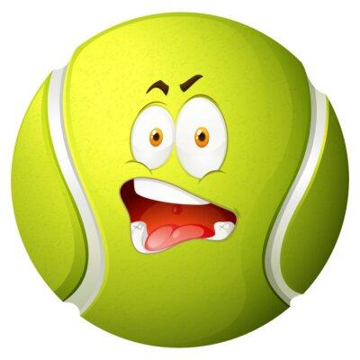 Plakat Piłka tenisowa z głupią minę