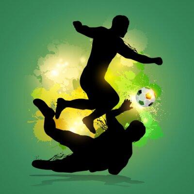 Plakat piłkarz drybluje przez bramkarza