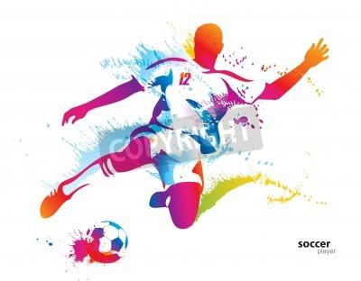 Plakat Piłkarz kopie piłkę. Kolorowych ilustracji wektorowych z kropli i aerozolu.