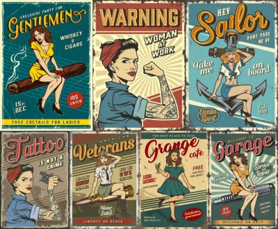 Plakat Pin up colorful posters set