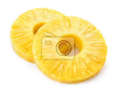 Plakat Pineapple ring. Pineapple slice isolated. Canned pineapple circle on white background.