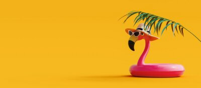 Plakat Pink flamingo with sunglasses and hat under palm leaf on yellow summer background 3D Rendering, 3D Illustration
