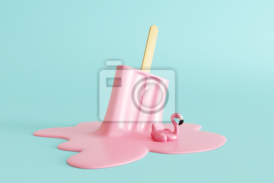 Plakat Pink stick ice cream melting with flamingo float on pastel blue background. Creative idea minimal summer concept. 3d rendering