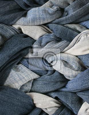 pionowa moda nowoczesny stylowe tkaniny tle wiele warkocze sznurowane w niebieskie dżinsy