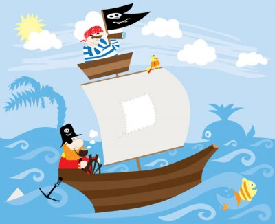 Plakat piraci statek, ryba, wieloryb, fale i słońce