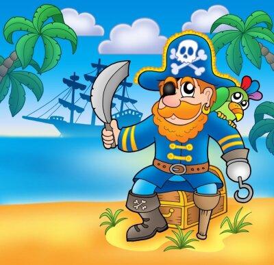 Plakat Pirate siedzi na skrzyni ze statku