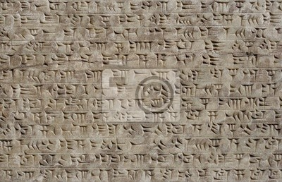 Plakat Pismo klinowe z sumeryjskiego cicilization w starożytnym Iraku
