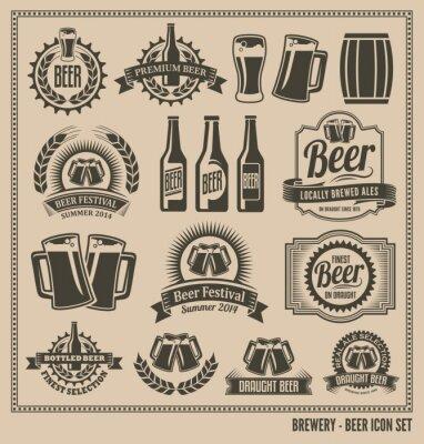 Plakat Piwo Icon Set - etykiety, plakaty, szyldy, banery, wektor projektu