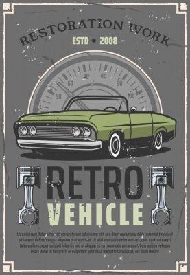 Plakat Plakat centrum serwisowego retro samochód auto przywrócenie