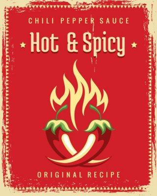 Plakat Plakat chili pieprz. Vintage tradycyjny meksykański pikantny plakat, grafiki grafiki restauracji hot chili pieprz