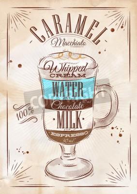 Plakat Plakat kawy karmelowe macchiato w stylu rysunku archiwalne