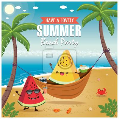 Plakat lato Vintage z charakterem arbuza, netto do spania, palmy.