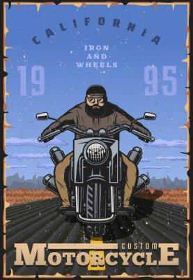 Plakat Plakat motocykla w stylu vintage. motocyklista na drodze z tła pustyni. Ilustracja wektorowa motocykl. rowerzysta na rowerze choppera