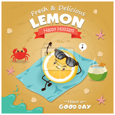 Plakat plakatowy plakat owocowy z cytryną.