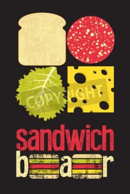Plakat Plakat retro grunge typografii dla kanapek.