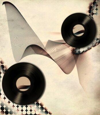 Plakat Plakat retro muzyki ze starych płyt winylowych