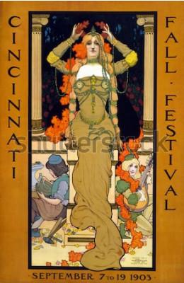 Plakat Plakat z festiwalu w Cincinnati, przedstawiający kobietę siedzącą na piedestale, składającą wieniec na głowie i noszącą biżuterię w stylu secesyjnym, autorstwa Stanleya Thomasa Clougha, w dniach 7–19