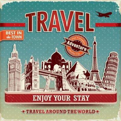 Plakat z rocznika podróży słynnego budynku etykiet i