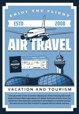 Plakat Plane, airport, tickets and passport. Air travel