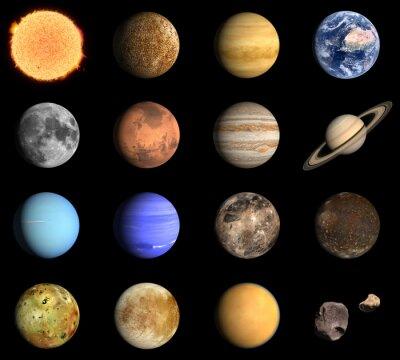 Plakat Planet i księżyców Układu Słonecznego pewnym