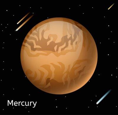 Plakat Planeta Merkury 3D ilustracji wektorowych