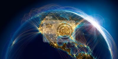 Plakat Planeta Ziemia ze szczegółową ulgą jest pokryta złożoną siecią świetlną tras lotniczych w oparciu o rzeczywiste dane. Ameryka północna. Renderowania 3D. Elementy tego obrazu dostarczone przez NASA