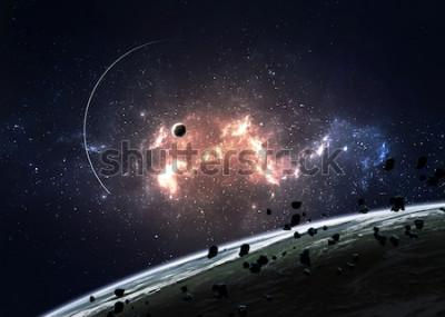 Plakat Planety nad mgławicami w przestrzeni. Elementy tego zdjęcia dostarczone przez NASA