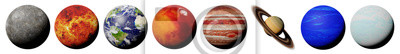 Plakat planety Układu Słonecznego na białym tle