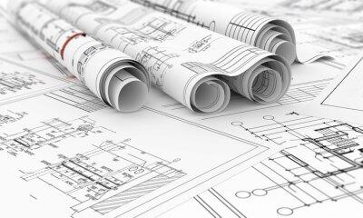 Plakat plany budowy w rolkach 3d ilustracji