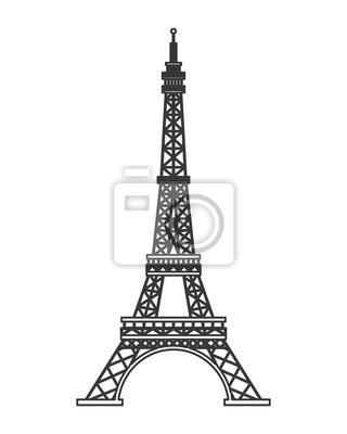 Plakat płaska konstrukcja Tour Eiffel ikona ilustracji wektorowych