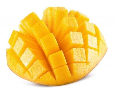 Plakat plastry mango samodzielnie na białym tle