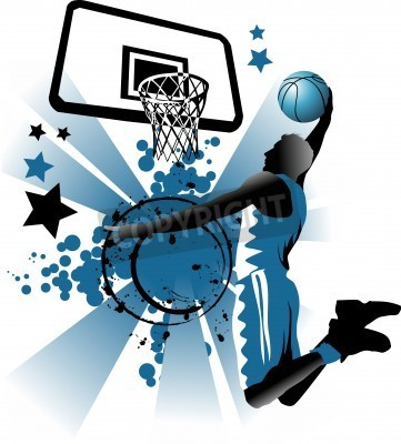 Plakat player in basketball at the background of basketball rings
