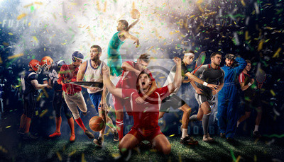 Plakat players of different sports on the football stadium 3D rendering