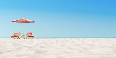 Plakat Plażowy parasol z krzesłami na piasku. koncepcja wakacji letnich. Renderowania 3d