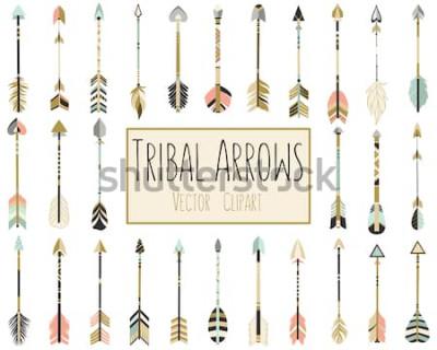 Plakat Plemiennych strzały wektor w koral, marynarki wojennej, mięty i złota