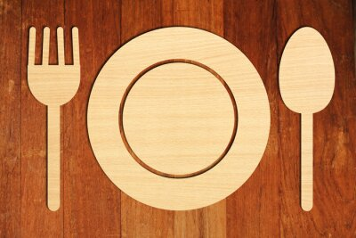 Plakat Płyta łyżeczka widelec
