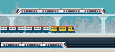 Plakat Pociąg, Sky Train, Subway, Ilustracja Ikony obiektów