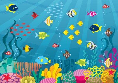 Plakat Podmorski / Cartoon ilustracji podwodnego świata z korali i ryb.