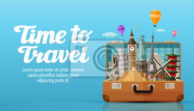 Plakat podróż do świata. otwarta walizka z punktów orientacyjnych. ilustracji wektorowych