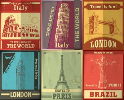 Podróż projekt plakat vintage set