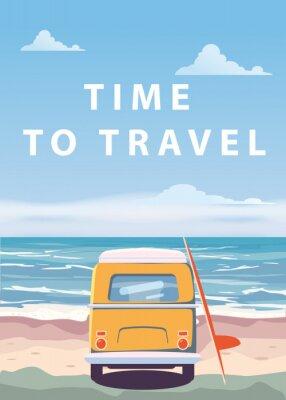 Plakat Podróż, wycieczka ilustracji wektorowych. Ocean, morze, pejzaż morski. Surfing van, autobus na plaży. Wakacje. Oceanu tło na wycieczce samochodowej, retro, rocznik. Pojęcie turystyki, stylu cartoon, n