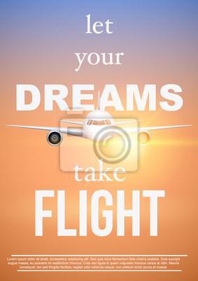Plakat Podróże lotnicze z Let Your Dreams Take Flight. Motywacyjny plakat wakacji i rejsu. Samoloty o zachodzie słońca. Ilustracja wektora.