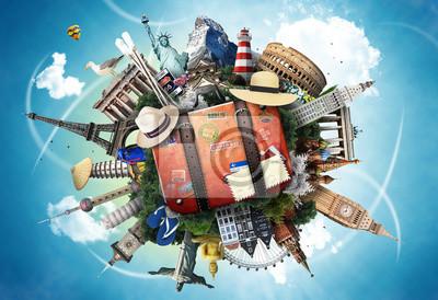 Plakat Podróże, światowe zabytki na tle błękitnego nieba