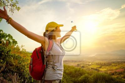 Plakat Podróżnik z plecakiem cieszyć widokiem na dolinę z podniesionymi rękami.
